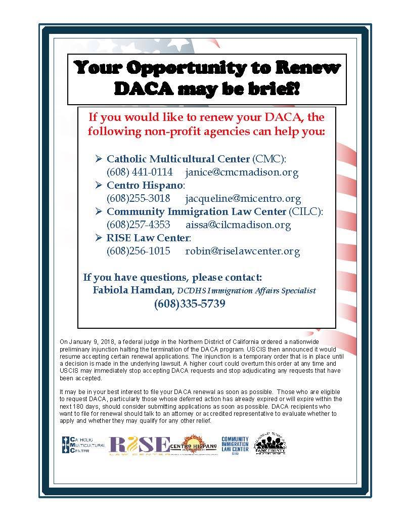DACA Renewal Assistance + Protest Tomorrow! Wisconsin Resists!#DreamActNow