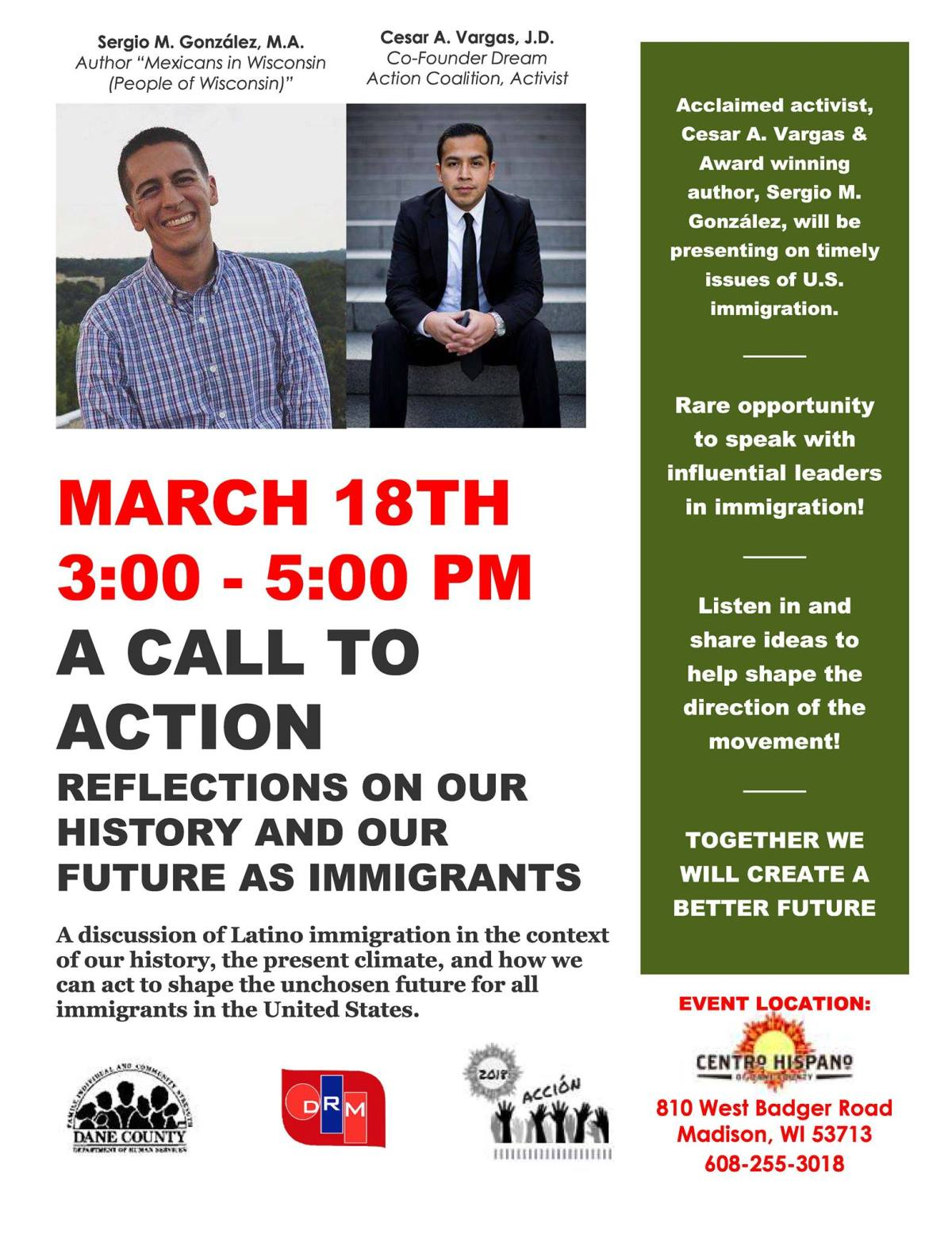 "Coming Up! ""A Call to Action: Reflections on Our History and Our Future"" w/ Sergio González + Cesar Vargas"